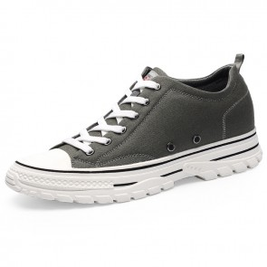 Hidden Taller Low Top Canvas Shoes Increase 2.4 inch / 6 cm Gray Professional Skate Sneakers