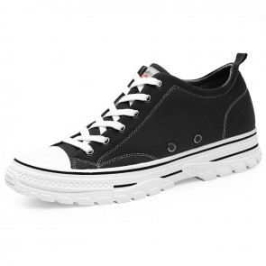 Height Increasing Low Top Canvas Shoes Add Altitude2.4 inch / 6 cm Black Professional Skate Sneakers