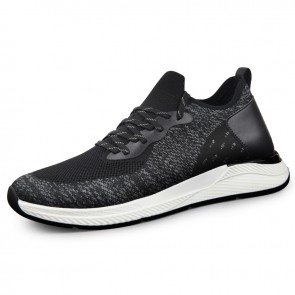 Black Lightweight Elevator Men Running Shoes Gain Taller 2.6inch / 6.5cm Flyknit Hidden Heel Sneakers