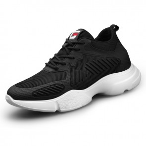 Elevator Clunky Sneaker for Men Increase 2.8inch / 7cm Black Lightweight Mesh Fashion Jogging Shoes