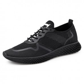 Black Elevator Running Sneakers for Men Taller 2.4inch / 6cm Breathable Low Top Casual Mesh Shoes