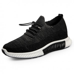 Hollow Out Flyknit Elevator Shoes for Men Add Height 2.6inch / 6.5cm Black Breathable Comfortable Sneakers