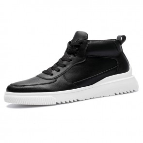 Daily Elevator High Top Sneakers Look Taller 2.8inch / 7cm Black Casual Men Skateboarding Shoes
