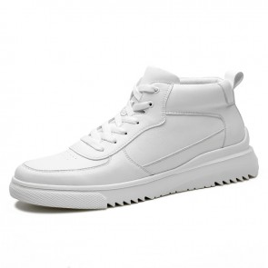 Daily Taller High Top Sneakers Increase Height 2.8inch / 7cm White Casual Men Skateboarding Shoes