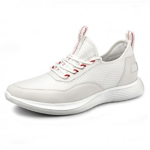 White Hollow Out Comfortable Men Elevator Sneakers Look Height 2.4inch / 6cm Mesh Running Shoes