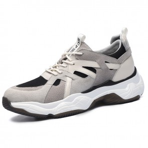 Taller Men Dad Shoes Increase Height 3.2inch / 8cm Retro Casual Elevator Clunky Sneakers