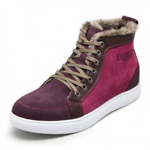 Winter warm woolen elevator board shoes height increase 6cm / 2.36inches casual ankle boots