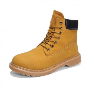 Retro Hidden Taller Ankle Boots Yellow Nubuck Work Boots Increase Desert Boots 3.6inch / 9cm