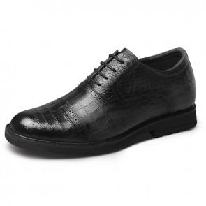 Grey Croco Embossed Men Elevator Oxfords Height 2.6inch / 6.5cm Lightweight British Dress Shoes