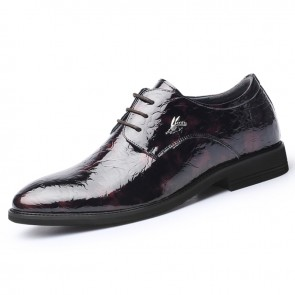 Wine Red Shiny Ice Wrinkle Dress Derby Gain Taller 2.8inch / 7cm Men Hidden Height Wedding Shoes