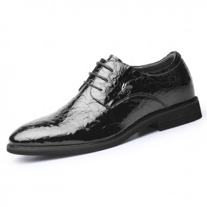 Black Shiny Ice Wrinkle Dress Derby Increase 2.8inch / 7cm Men Hidden Talller Wedding Shoes