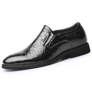 Shiny Ice Wrinkle Elevator Dress Loafers Patent Leather Taller Formal Shoes Height 2.6inch / 6.5cm