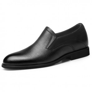 Flexible Elevator Dress Loafers for Men Increase 2.6inch / 6.5cm Black Soft Genuine Leather Slip On Formal Shoes