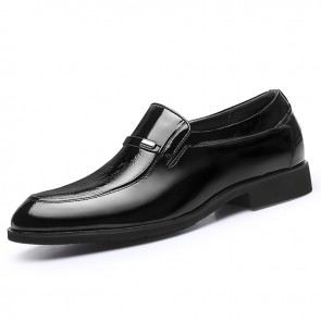 Soft Patent Leather Elevator Dress Loafers Pointy Toe Formal Business Shoes Taller 2.4inch / 6cm
