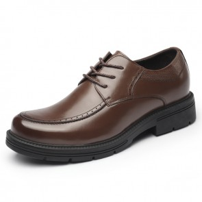 Brown Taller Men Business Shoes Increase 3.2inch / 8cm Quality Calfskin Elevator Formal Shose