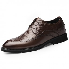 Brown Crocodile Embossed Business Shoes for Men Add Taller 2.6inch / 6.5cm Perforated Elevator Dress Shoes