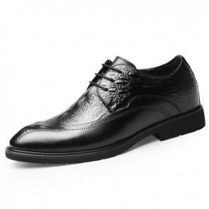 Black Crocodile Embossed Tuxedo Shoes Increase 2.6inch / 6.5cm Perforated Elevator Formal Oxfords