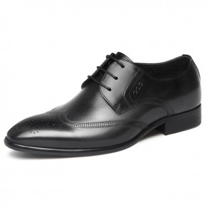 Black Pointy Toe Brogue Elevator Shoes for Men Get Taller 2.8inch / 7cm British Lift Business Formal Dress Shoes