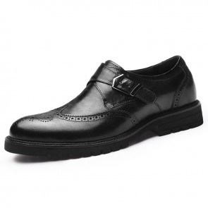 Black Buckle Elevator Brogue Shoes for Men Increase 2.8inch / 7cm British Wing Tip Formal Dress Shoes