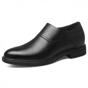 Elevator Zip Dress Shoes for Men Increase Height 2.6inch / 6.5cm Black Plain Toe Formal Business Loafers
