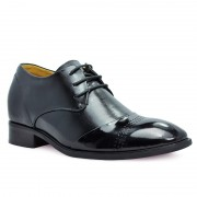 Black fashion dress elevator shoes for men height increase 7cm/2.75inchs heighten shoes