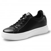 2020 Lightweight Elevator Fashion Sneakers Black Leather Hidden Lift Skate Shoes Add Taller 2.8inch / 7cm