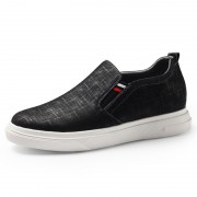 Comfortable Elevator Fabric Shoes Black Slip On Skateboarding Loafer Shoes Increase Height 2.6inch / 6.5cm