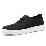 Trendy Elevator Men Flyknit Sneakers Lightweight Black Mesh Casual Walking Shoes Increase 2.4inch / 6cm