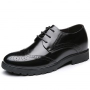 Brogue Calf Leather Dress Shoes Taller 7cm / 2.8inch Black Wedding Elevator Shoes