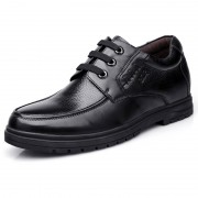 Elevator business casual dress shoes get taller 6.5cm / 2.56inch black cowhide derbies