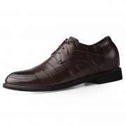 2020 British Elegant Hidden Taller Tuxedo Shoes Brown Cowhide Elevator Formal Derbies Add Height 2.4inch / 6cm