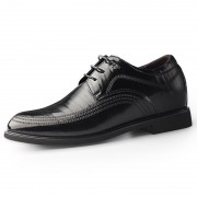 2020 British Elegant Hidden Height Tuxedo Shoes Black Cowhide Elevator Formal Derbies Increase 2.4inch / 6cm