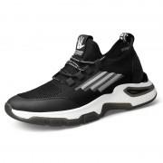 Comfortable Hidden Taller Sneakers Black Flyknit Elevator Walking Running Shoes Increase 2.6inch / 6.5cm