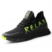 2020 New Fashion Height increasing Trainers Black-Green Mesh Flyknit Elevator Running Walking Shoes 2.4inch / 6cm