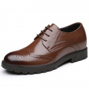 Brogue Calf Leather Dress Shoes Altitude 7cm / 2.8inch Brown Wedding Elevator Shoes