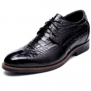 Croc Print  Premium Leather Elevator Shoes 3.2inch / 8cm Black Taller Dress Shoes