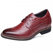 Croc Print  Premium Leather Taller Shoes 3.2inch / 8cm Burgundy Height Dress Shoes