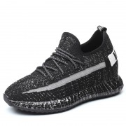 Black Flyknit Elevator Sneakers Skateboarding Running Shoes Increase Height 3.6inch / 9cm