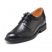 Personality Cow Leather Elevator Ancient Style Oxfords Add Tall 5.5cm / 2.17 inch Black Lace Up Work Shoes