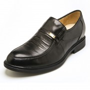 Europe black leather elevator slip on formal shoes add taller 5.5cm / 2.17 inch