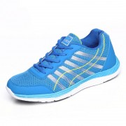 Blue lightweight mesh elevator sneakers increase 6.5cm / 2.56inch lace up walking shoes
