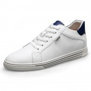 Comfortable Low Top Hidden Lift Skate Shoes White Leather Casual Walking Shoes Add Taller 2.6inch / 6.5cm