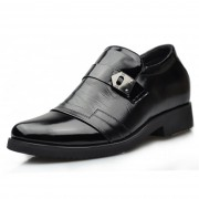 Buckle black cowhide dress elevator shoes height increasing 7cm / 2.75inch taller formal shoes