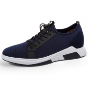 Stylish Height Increasing Fitness Shoes Blue Lightweight Mesh Slip On Trainers Add Altitude 2.8inch / 7cm