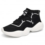 Fashion High Top Lifts Sneakers Black Breathable Elevator Walking Shoes Taller 3.2inch  / 8cm