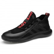 Black Hollow Out Elevator Running Shoes Lightweight Fashion Flyknit Sneakers Height 2.6inch / 6.5cm