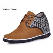 Suede Leather casual style height increasing elevator Shoes 2.75inchs/7cm taller
