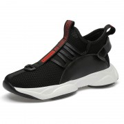 Height Elevator Chunky Sole Sneakers Black Slip On Mesh Walking Loafers To Be Taller 3.2inch / 8cm