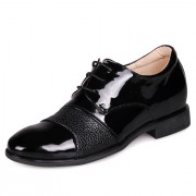 Formal Tall Shoes Black Glossy Cow Leather Dress Shoe Elevating Height 6cm / 2.5Inches