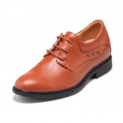 Personality Cow Leather Height Ancient Style Oxfords Gain Tall 5.5cm / 2.17 inch Yellow Lace Up Work Shoes